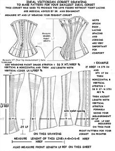 1898 corset pattern for your smallest ideal corset without tight lacing.