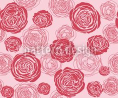 Rose Blooms Red-Pink by Viktoryia Yakubouskaya available for download as a vector file on patterndesigns.com