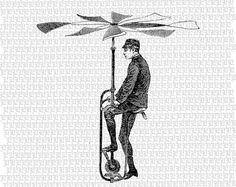 Man Flying Machine Victorian Technology by luminariumgraphics, $2.20