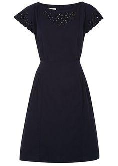 Becca Broderie Dress in Navy