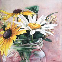 """""""Country Nosegay""""  12"""" x 12"""" - watercolor on aquabord.  Painting by Kara K. Bigda."""