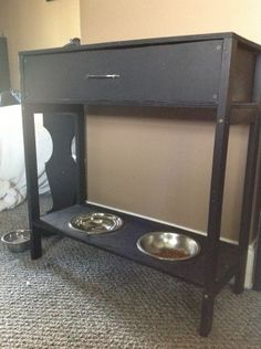 Console Table w/Drawer & Raised Dog Bowls, I could do without the drawer. Just do a table and put the DIY dog food storage on top