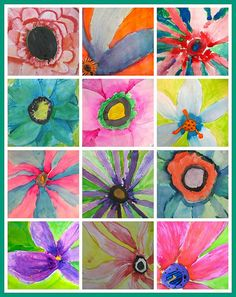 Mini O'Keeffes - 3rd grade watercolor