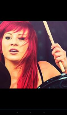 Jen ledger pkaying the drums