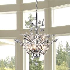 Brookleigh Leaf 9-Light Crystal Chandelier
