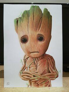 Baby Groot drawing Original Artwork Dibujos a lápiz Stitch de disney