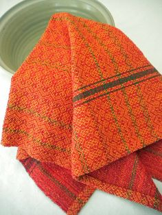 Kitchen Towel in Tangerine and Red