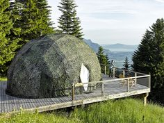 Go Eco-Friendly Glamping in These Geodesic Domes in the Swiss Alps - Photo 1 of 10 - The color of the pods is adapted to fit each season: white in the winter and green in summer. Prefab Buildings, Switzerland Hotels, Destinations, Luxury Tents, Eco Architecture, Dome House, Geodesic Dome, Swiss Alps, Architectural Digest