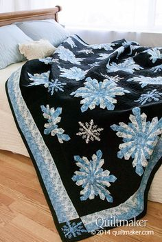 This quilt was quilted by Memories In Stitches Midnight Snowfall A quilt featured in Quilt Makers Magazine that I quilted! Pattern Created by Brenda S. Quilting Projects, Quilting Designs, Snowflake Quilt, Snowflakes, Snowflake Pattern, Dresden Plate Quilts, Dresden Plate Patterns, Quilted Throw Blanket, Patch Aplique