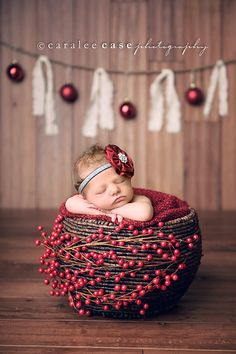 I love everything about this beautiful photo!  ♡  Newborn baby Photo Session Idea | Child / Family Photography | Portraits | Christmas Card | Holiday | Props | Birth Announcement