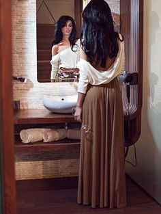 Alluring Skew Neck Long Sleeve Backless Maxi Draped Dress
