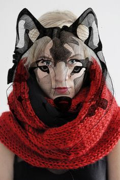 Red knit & wolf illustration