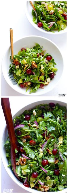 Grape, Avocado & Arugula Salad -- This Simple Salad is Fresh, Light, and Full of Wonderful Sweet Flavors You'll Love #healthy #salad #recipes