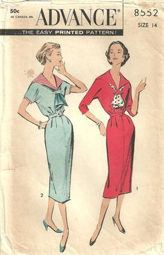 Vintage 50s Sewing Pattern / Advance 8552 / Dress With Sailor Collar / Size 14 Bust 34