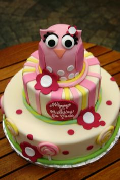 Pink & Green Stripes, Dots and Flowers Owl Cake