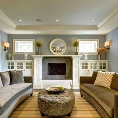 I like the shelves on either side of the fireplace