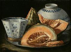 Cristoforo Munari (Reggio Emillia 1667 – 1720 Pisa), A Still-Life with Melon, an octagonal blue and white cup