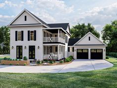 050H-0373: Two-Story Southern House Plan Two Story House Plans, Family House Plans, Two Story Homes, Dream House Plans, Southern House Plans, Southern Homes, Southern Style, Southern Charm, Porch Columns