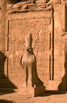 The Ptolemaic temple of Edfu was dedicated to the worship of Horus, the falcon god.  Egypt