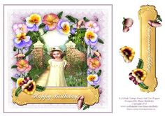 8 x 8 Pink Vintage Pansy Girl Card Topper on Craftsuprint - Add To Basket!