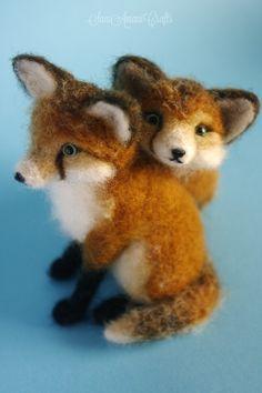 two inseparable fox kits II by SaniAmaniCrafts.deviantart.com on @DeviantArt