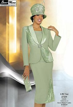 Ben Marc Womens Sage Asymmetrical Church Suit 47109
