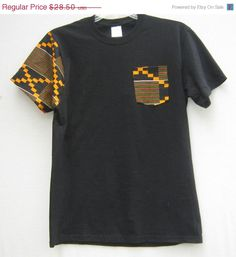 ON SALE African Print Pocket Tee T shirt African by Shipella