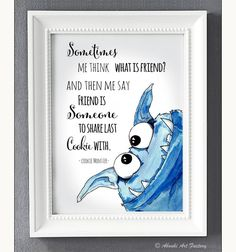 Poster mit Cookie Monster über Freundschaft, Dekoartikel / picture with Cookie Monster about friendship, home accessory by AboukiArtFactory via DaWanda.com