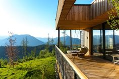 Austrian architecture firm Viereck Architekten designed a series of wooden mountain chalets that offer spectacular 360-degree views of the Alps.  Read more: Viereck Architekten's green-roofed mountain chalets offer 360-degree views of the Alps | Inhabitat - Sustainable Design Innovation, Eco Architecture, Green Building