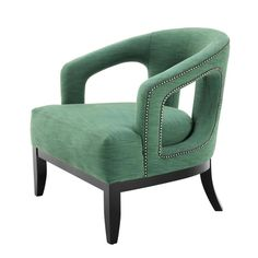Buy Eichholtz Adam Chair Black Legs Antique Brass Studs online with Houseology's Price Promise. Full Eichholtz collection with UK & International shipping. Willow Furniture, Mod Furniture, French Furniture, Furniture Chairs, Sofa Set Designs, Sofa Design, Colorful Chairs, Colorful Furniture, Green Armchair
