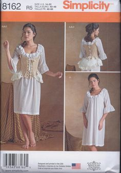 Simplicity 8162 Misses 18th Century undergarments including chemise, boned corset and bum pad. Perfect for wearing under Simplicity 8161 18th
