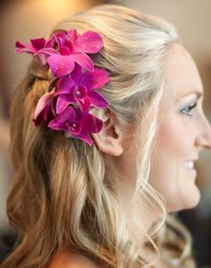 WeddingChannel Galleries: Orchid's in Bridesmaid Hair