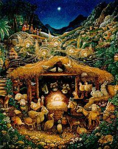 size: Giclee Print: Silent Night by Bill Bell : Christmas Nativity Scene, Noel Christmas, Christmas Journal, Nativity Scenes, Bell Art, Owning A Cat, Cat Behavior, Silent Night, Cat Tattoo