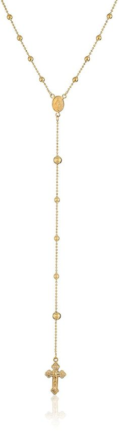 14k Yellow Gold Rosary Bead Necklace, 24' *** Details can be found by clicking on the image.