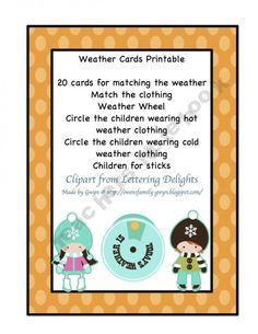 Weather Cards product from Preschool-Printable on TeachersNotebook.com