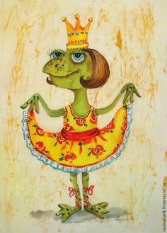 Купить Царевна-Лягушка ( батик панно) - оливковый, лягушка, богатство, фен-шуй, картина