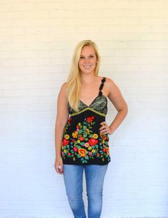 Floral embroidered tank | Alta Moda