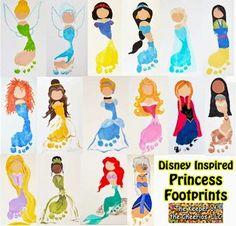 Disney princesses made of footprints