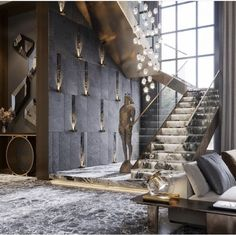 Home Stairs Design, Dream Home Design, Modern House Design, Interior Design Living Room, Luxury Staircase, Appartement Design, Modern Entryway, Lobby Design, Luxury Homes Dream Houses