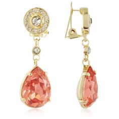 AZ Collection Earrings Orange Clip-On Drop Earrings ($130) ❤ liked on Polyvore featuring jewelry, earrings, brincos, accessories, gold, pave jewelry, orange jewelry, orange earrings, clip-on earrings and clip on drop earrings