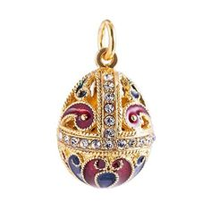 Imperial Faberge-Style Egg Pendant 24k Gold Plated with Swarovski Crystal by Alpha -- Awesome products selected by Anna Churchill