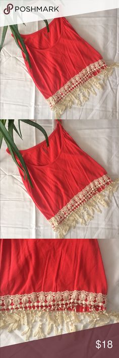"""Aila Blue inspired Boho tassel crop top size XS Such a cute top! Inspired by the """"Barcelona"""" top by aila blue. Crochet tassels hand sewn on the bottom and scrunched straps. Perfect for festival season and summer! Can fit a small too :) Tops Crop Tops"""