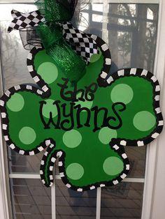 Shamrock Door Hanger by WhimsyGirlArt on Etsy, $35.00