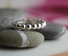 Beaded band sterling silver ring layer with by wearthou on Etsy