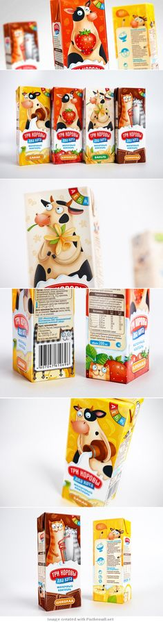 Who wouldn't like this cute #milk #packaging even in a different language curated by Packaging Diva PD - created via http://thebestpackaging.ru/2013/07/tri-korovyi-dva-kota-molochnyie-kokteyli-v-dizayne-ot-brandiziac.html
