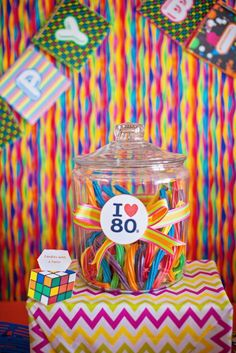 Colorful licorice at a 1980's birthday party! See more party ideas at CatchMyParty.com!