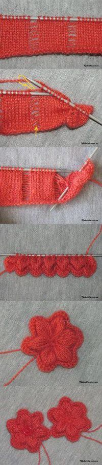 Knit Flowers using a dropped-stitch trick - very clever