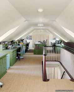 Attic studio...I'd die if I had this much space for a craft/sewing/office room. Dreamy.