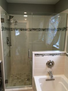 Custom frameless #showerdoor completes this custom #bathroom designed in Guilford, CT