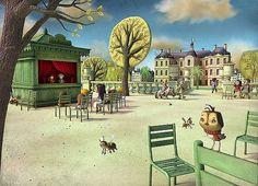Beautiful 3d Cartoons by Matt Roussel. This is a cartoon of Luxembourg Gardens.